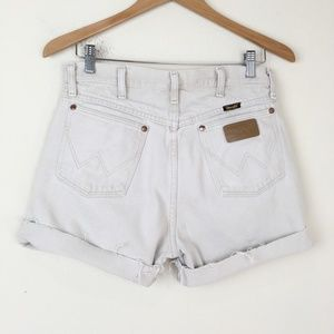 Wrangler Shorts - WRANGLER Beige Denim Cutoff Shorts High Waist Boho